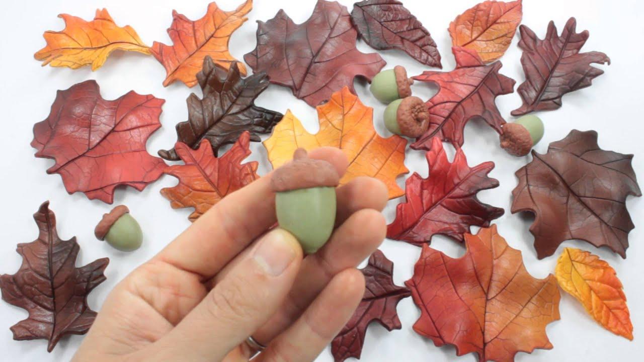 Fall Leaves & Acorns Wedding Cake Topper Sugar Paste by