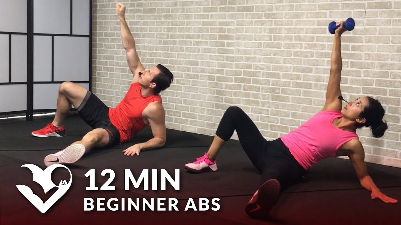 12 min beginner ab workout for women men easy abs workout for