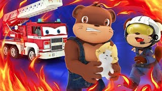 appMInk Fire Truck & Police Car Fire Rescue | Save Cat & Learn English | ESL video for kids