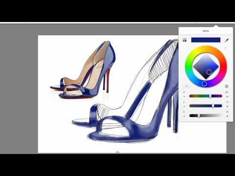 Shoe drawing and painting by reproduction in shoe design03