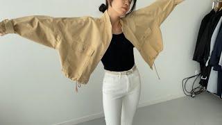 여자봄코디 숏야상 유넥티셔츠 | 사색 쇼핑몰 촬영 스케…