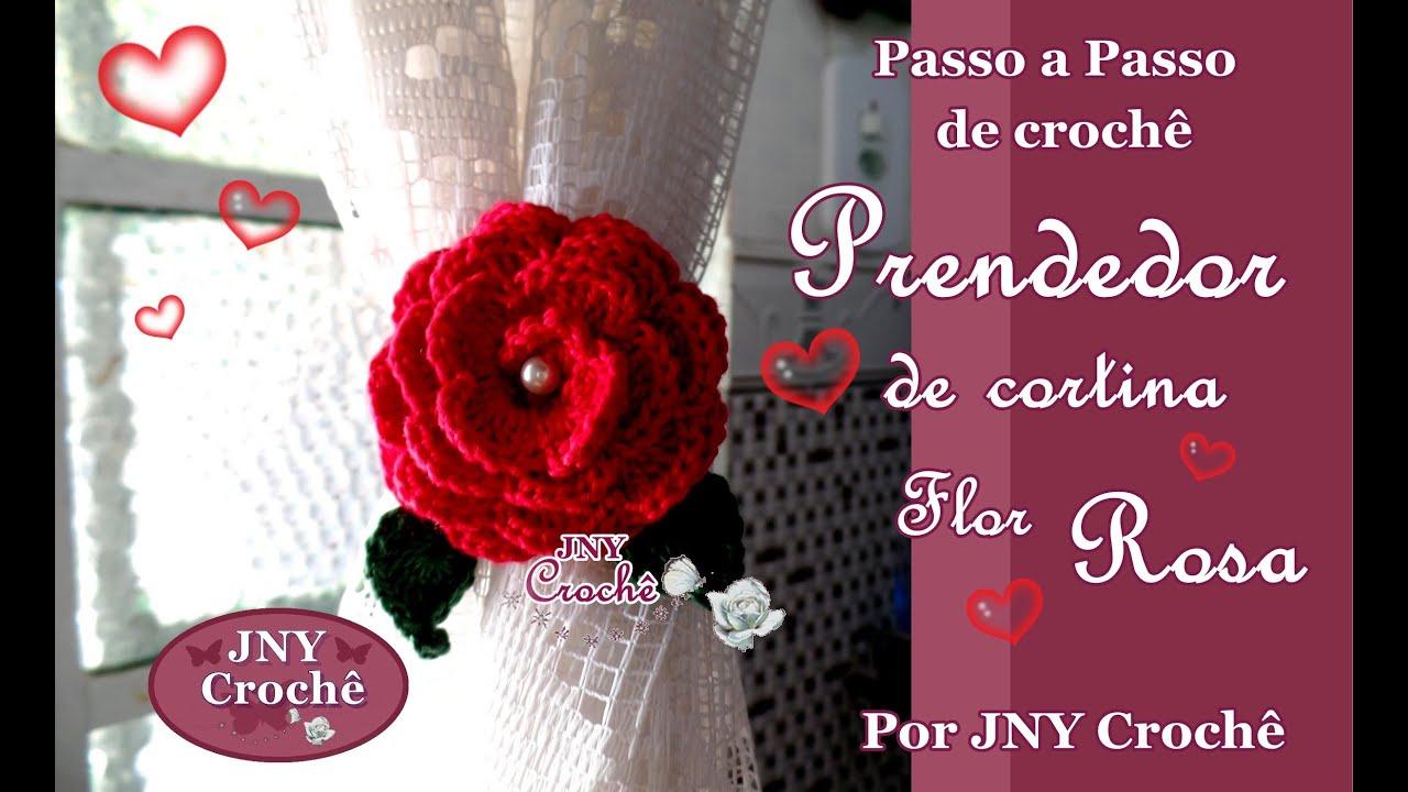 Muito Passo a Passo de Crochê Prendedor de Cortina Rosa enrolada por JNY  FR17