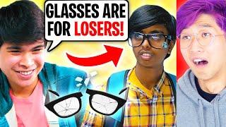 Student Breaks Nerd's Eye Glasses!? (LANKYBOX REACTION!) *ENDING IS SHOCKING*