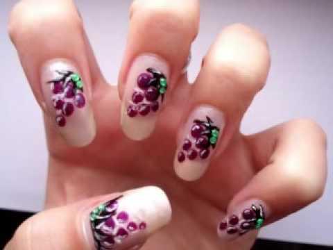 Lovely Fruit Inspired Nails - Grape Design - YouTube