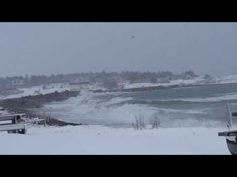 Stormy seas in Conception Bay South, Newfoundland - February 15, 2017