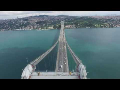 4K Turkey Istanbul Bosporus Bridge Drone View Helicopter Foo