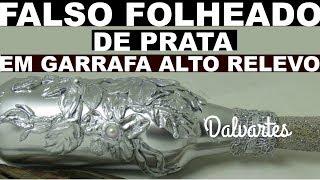 FALSO FOLHEADO DE PRATA EM GARRAFA ALTO RELEVO