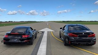 PORSCHE 911 TURBO S vs TUNED BMW M5 - DRAG RACE