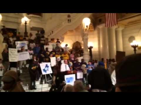 Alan Jennings speaking at the Raise the Wage PA Rally on Ju