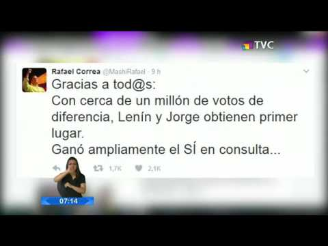 Rafael Correa agradeció en Twitter el apoyo de sus simpatizantes