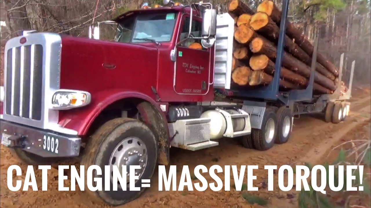 Peterbilt with a Caterpillar in a hard pull!