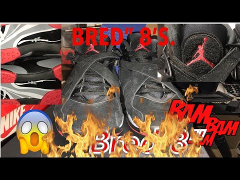 "NIKE Unboxing:Air Jordan 8 Retro ""BLACK CEMENT""(1998) GYM RED/WLF GREY-BLCK( 2017'-BRED) #Sgk23Tv"