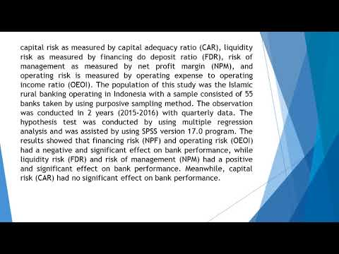 Risk Management and Performance Empirical Study of Islamic Rural Banking in Indonesia  AEFR 712 1317