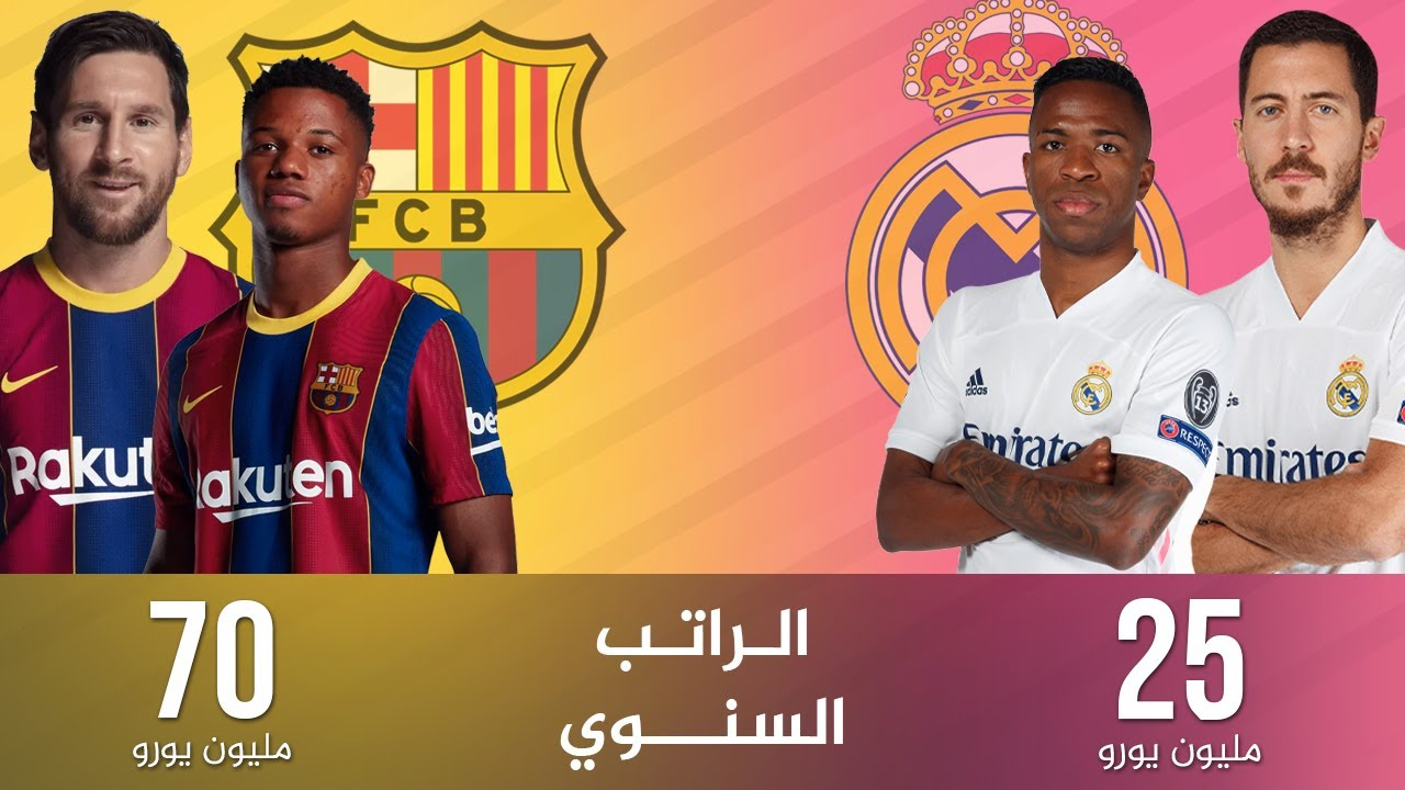 مقارنة بين الراتب السنوي للاعبين برشلونة وريال مدريد 2021 فوارق كبيرة بينهم