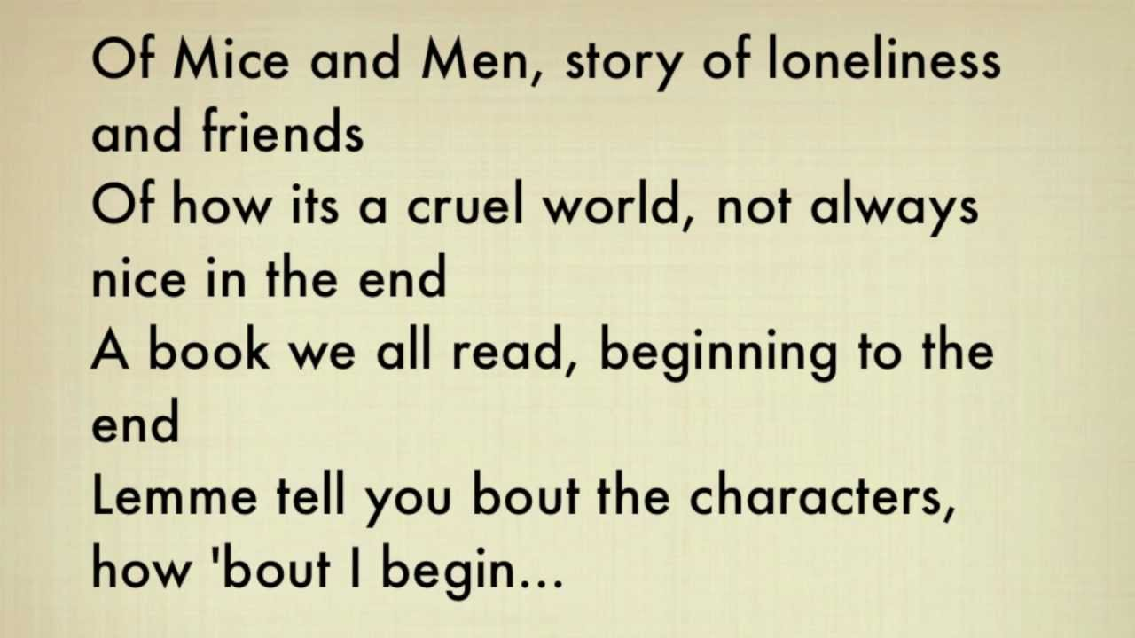 "Of Mice And Men George Quotes Of Mice And Men"" Rap W Lyrics  Youtube"