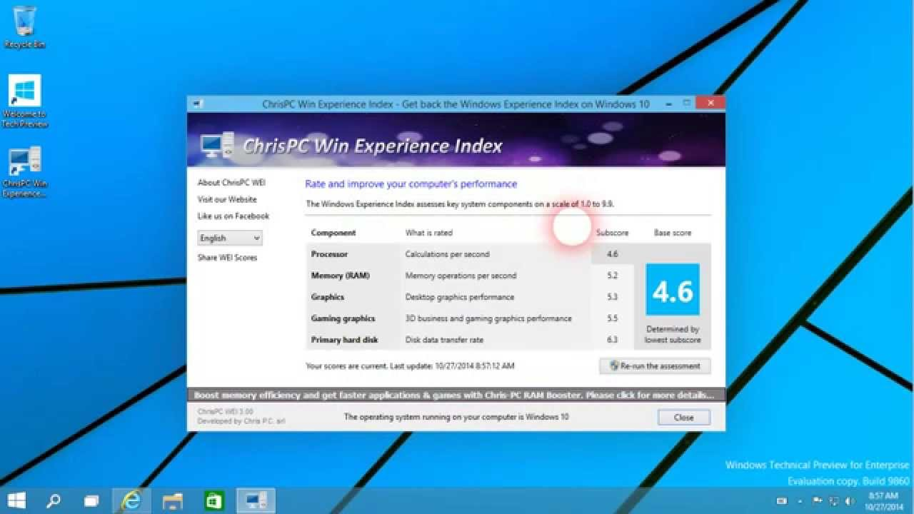 Windows Experience Index on Windows 10 and on Windows 8 1