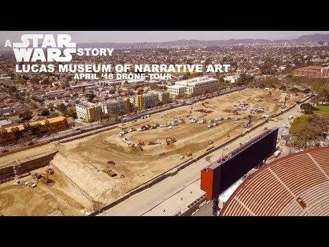 Spaceship landing next to LA Coliseum | Lucas Museum Narrative Art Drone Tour