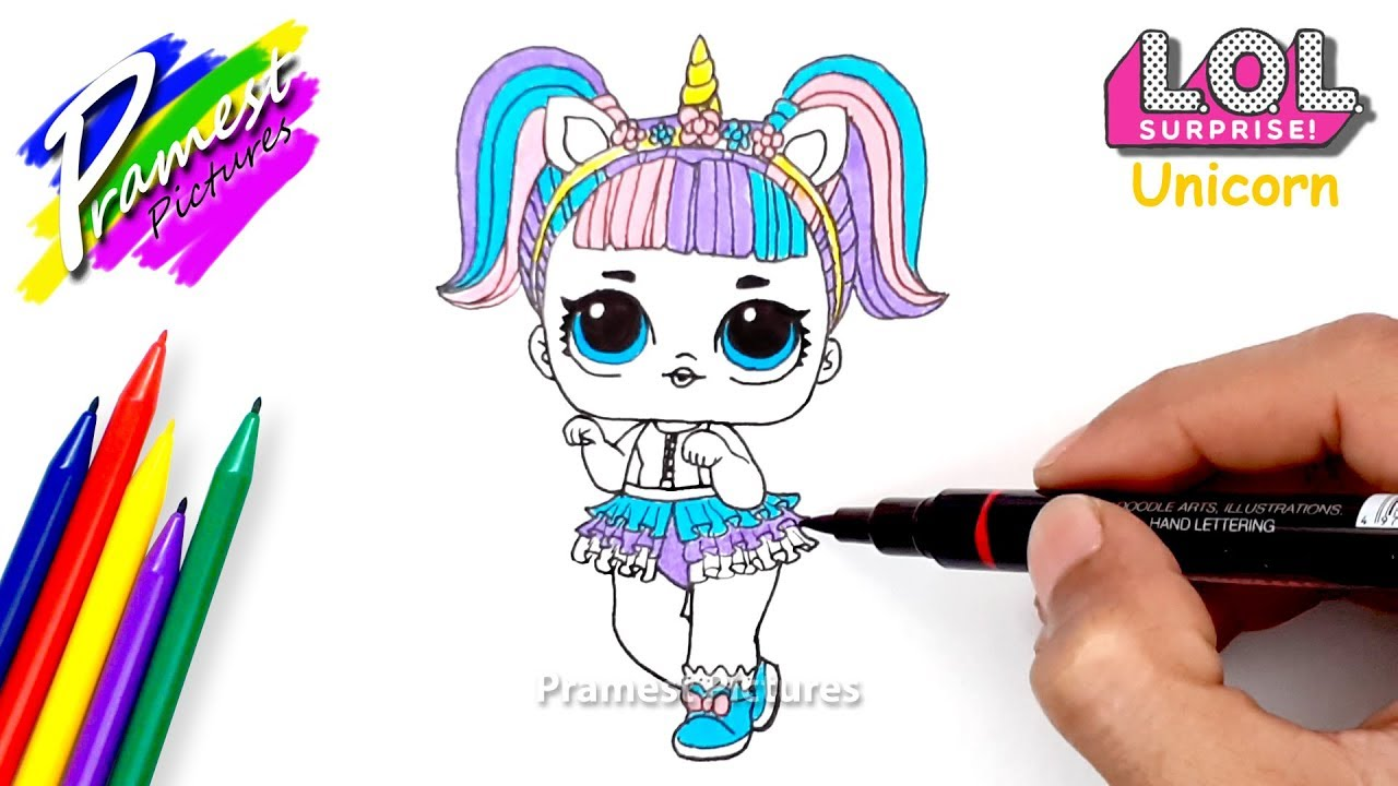 How To Draw LOL Surprise Doll Unicorn Coloring Pages