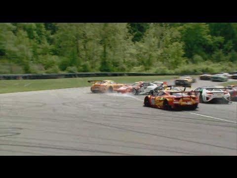 Pirelli World Challenge (Sprint-X) 2017. Race 2 Lime Rock Park. Start Crash