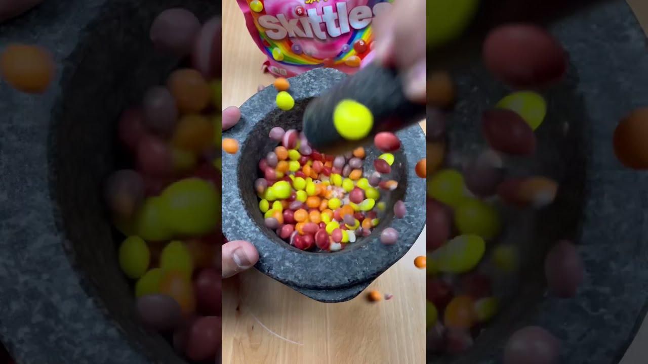 How to Make Powdered Sugar by Crushing Skittles #shorts