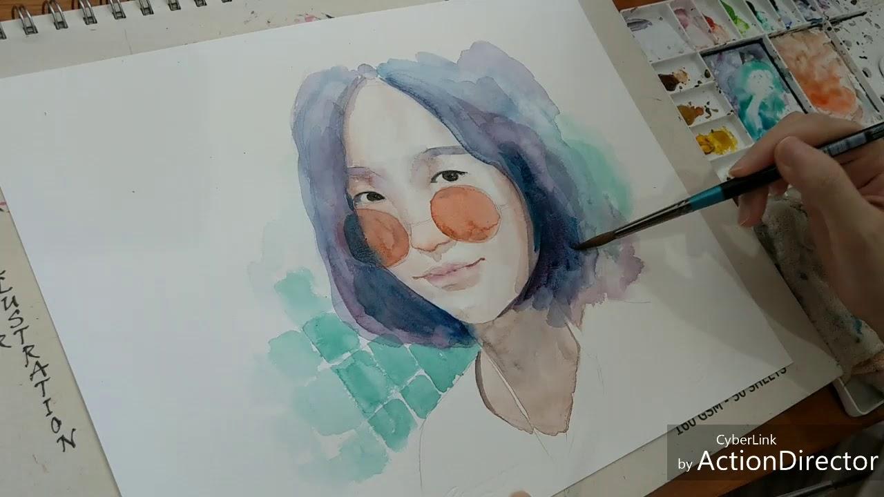 Watercolor painting | Vẽ minh họa chân dung màu nước 05