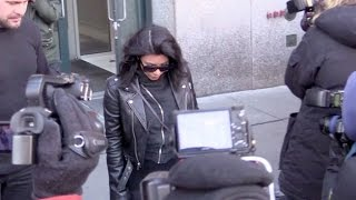 Tabloid fave Kim Kardashian surrounded by the press in New York