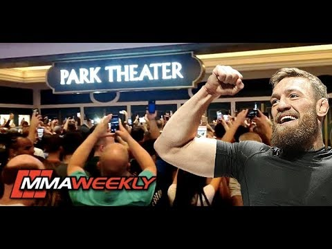 Excited Conor McGregor and Khabib Fans Rush the Park Theater