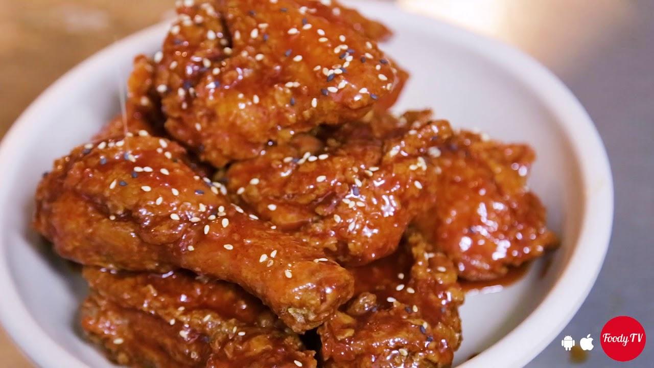 Quay giới thiệu món ăn nhà hàng  gà phô mai Hàn quốc
