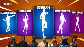 Max Tier Skins From All seasons of Fortnite showcasing Popular emotes (Scenario,Smooth move& more)
