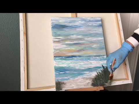 Finger painting Step by step . Ocean view. Acrylic abstract painting(part2)
