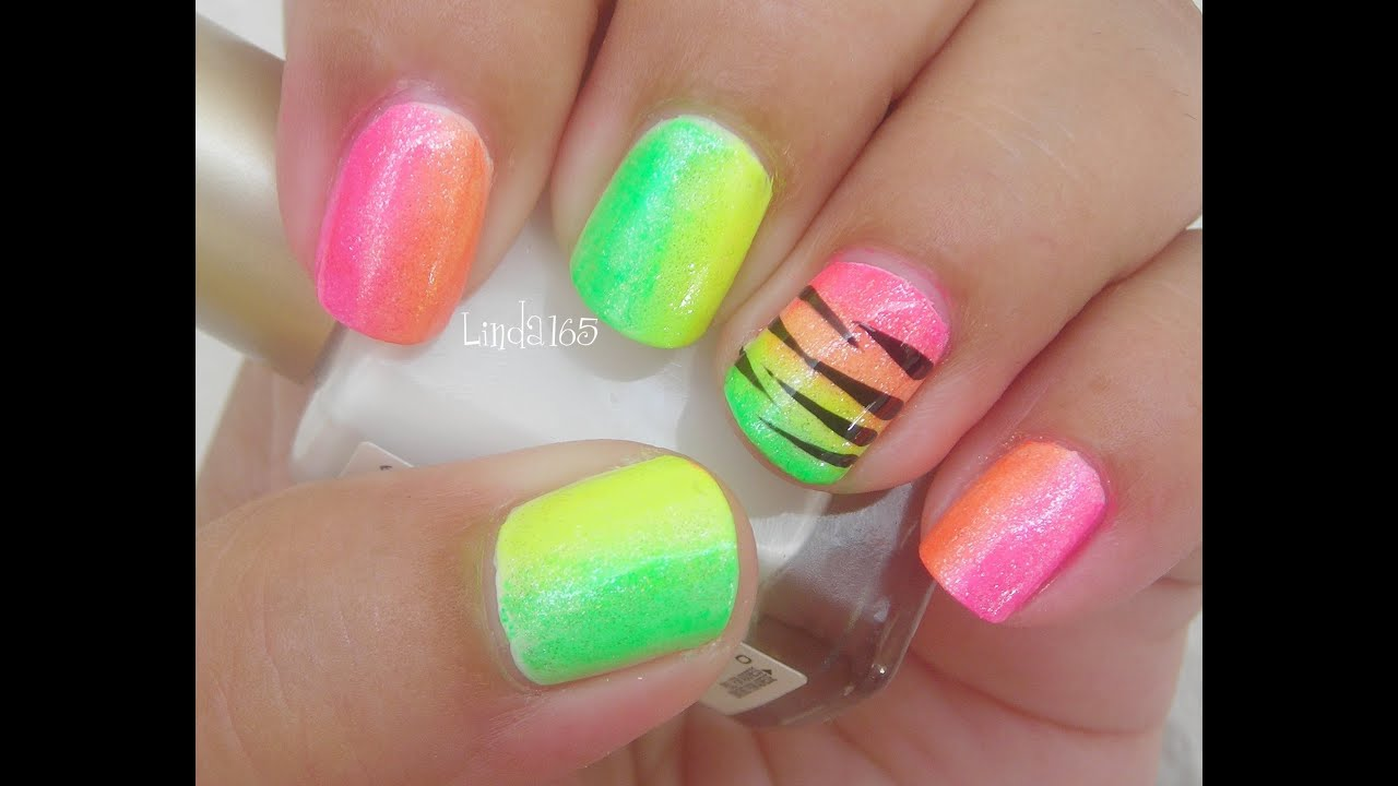 wild neon nail art- decoraci
