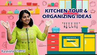 My New Kitchen Small Tour & Organizing Ideas | Kitchen Counter Top Organization in Tamil #meesho