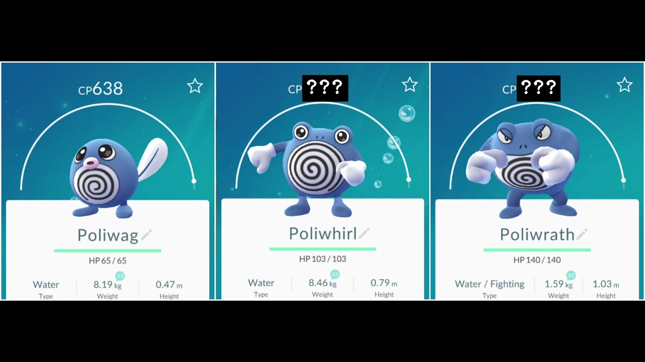 pokemon go poliwag638 to poliwhirl to poliwrath