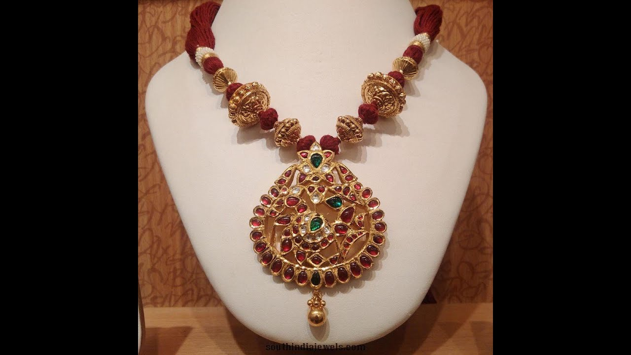 Latest thread with temple jewellery designs youtube mozeypictures Image collections