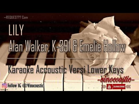 Alan Walker, K-391 & Emelie Hollow - Lily Karaoke Akustik Versi Lower Keys