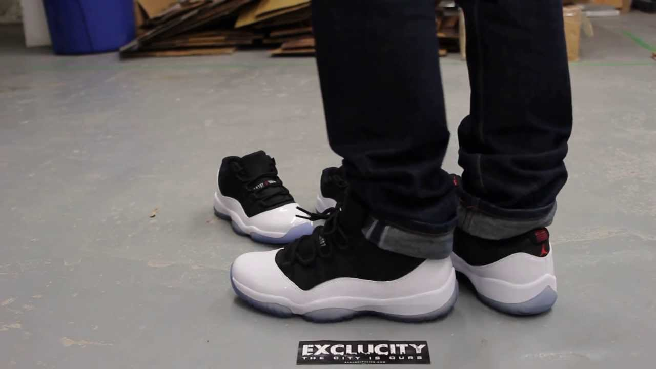 reputable site ae8ac eb89f air jordan 11 tuxedo on feet