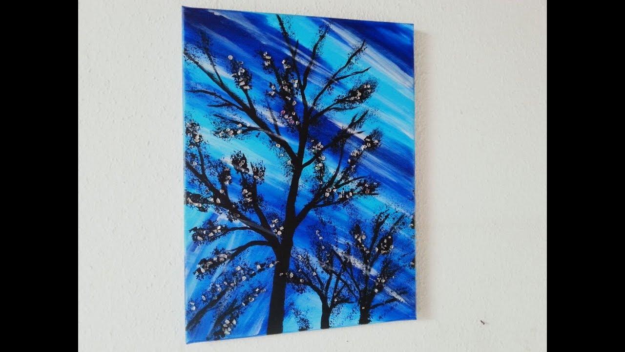 Acrylbild Schön Gestalten Mit Glitzersteinen Baum Für Anfänger Acrylic Painting Tree