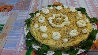 Салат с грибами и печенью трески.