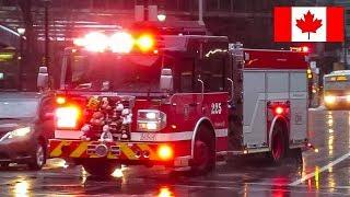 Montréal | Montréal Fire Service (SIM) Pumper 225 Responding Using Q Siren & Airhorn