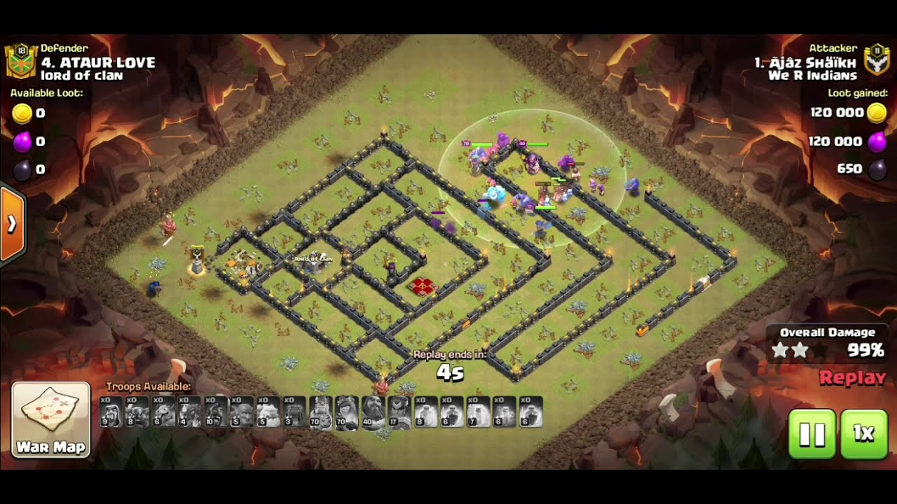 Hog attack th13 clash of clans COC - YouTube