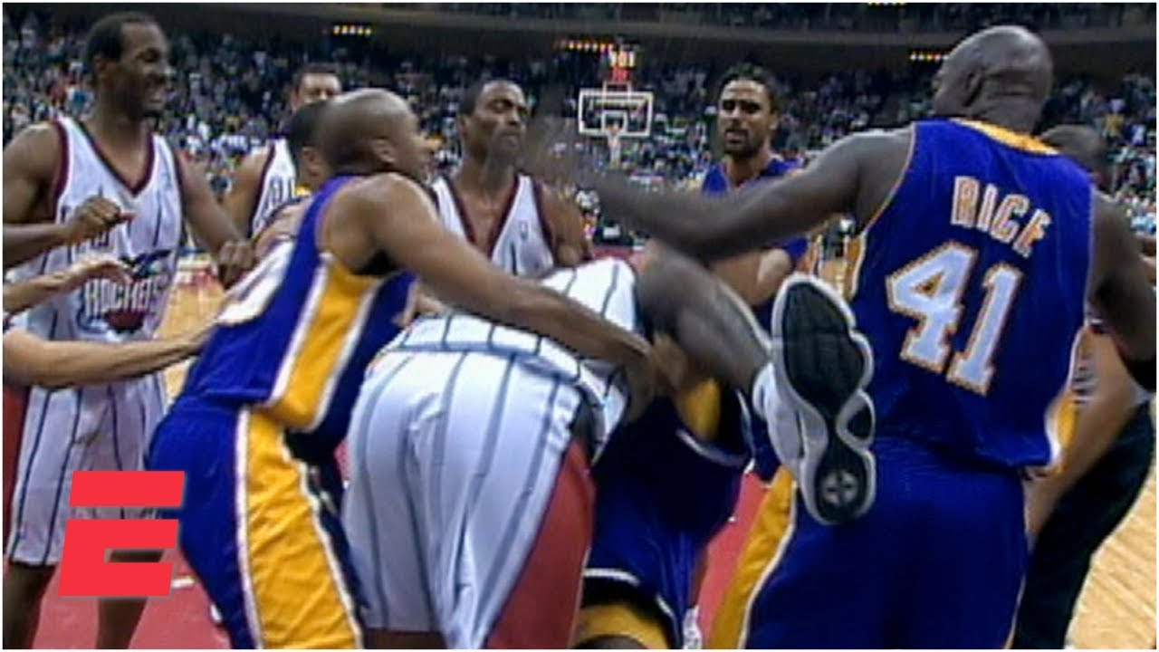 Download Shaquille O'Neal and Charles Barkley fight during Lakers vs. Rockets game (1999)   ESPN Archives