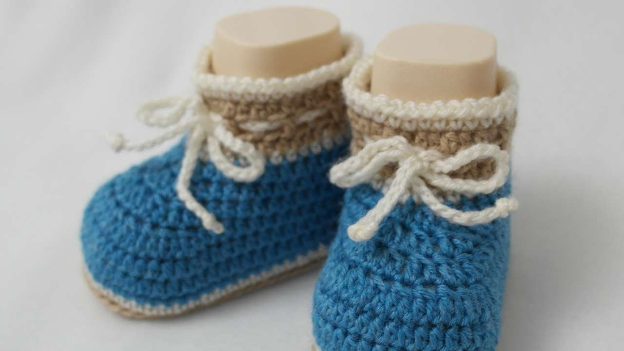 3b862a8b88b88 How To Make Cute Crocheted Baby Boy Booties - DIY Crafts Tutorial -  Guidecentral