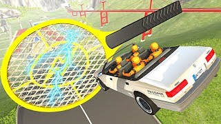 BeamNG.drive - Cars Jumping through Giant Electric Fly Swatter