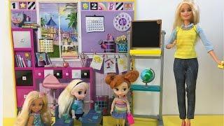 Elsa & Anna go School! Barbie is the Teacher! Frozen Barbie Dolls Videos! Full English Episodes!