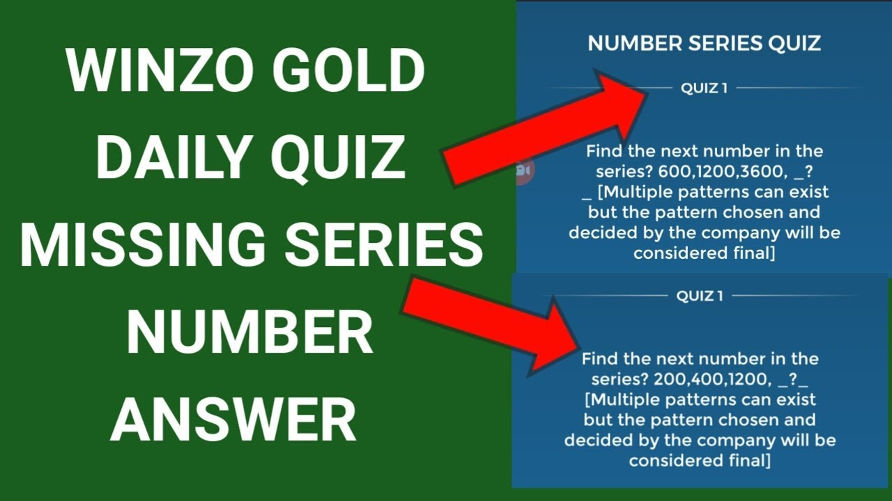 Winzo Gold Daily Quiz Number Series Correct Answer | Winzo Gold Number Series Quiz Answer