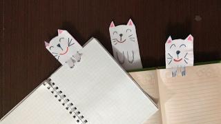 DIY! Закладка оригами для книг из бумаги смешные кошки. Origami bookmark for books from paper cats!