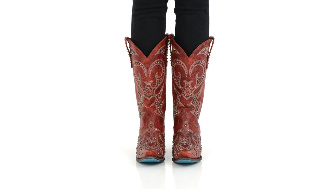 f2ed2f45025 Lane Boots Womens Red Leather Lovesick Stud Vintage Studded Cowgirl -  Style  LB0199C