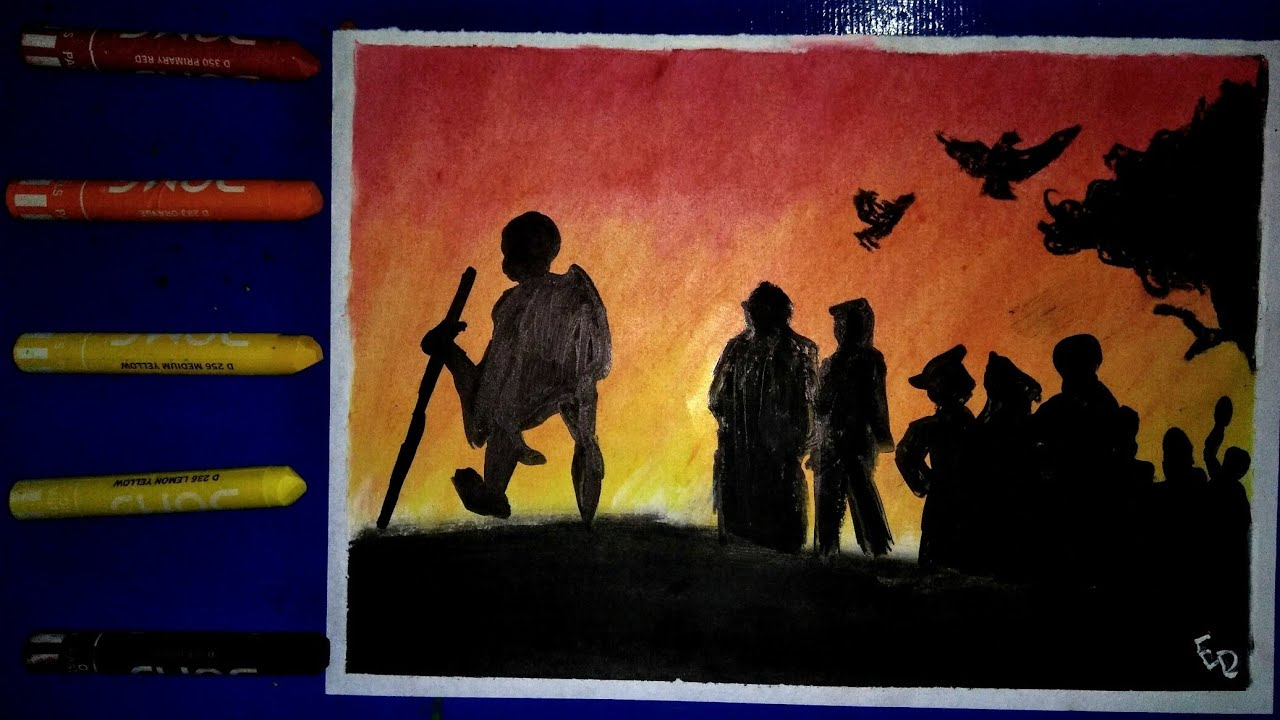 Independence Day Special Drawing Dandi March With Amazing Background Using Oil Pastels By Sketch N Cartoonist