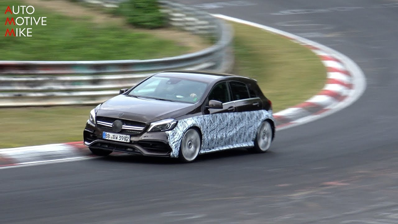 2019 mercedes amg a45 spied testing at the n rburgring youtube. Black Bedroom Furniture Sets. Home Design Ideas