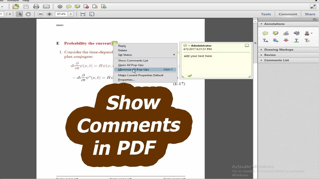 How to Show Comments in PDF by using adobe acrobat pro